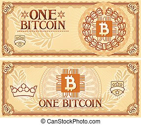 One Bitcoin abstract banknote