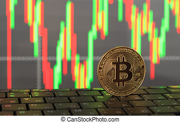 One bitcoin close-up on a blurry background, the concept of rising and falling prices