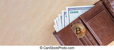One bitcoin with dollar bills in wallet, virtual cryptocurrency trading concept