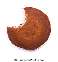 One bitten pancake isolated on a white background