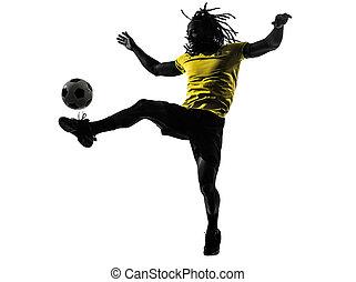 one black Brazilian soccer football player man silhouette