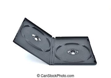 one black dvd box isolated on white background.