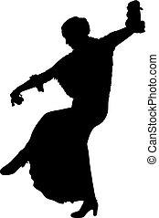 One black silhouette of female flamenco dancer