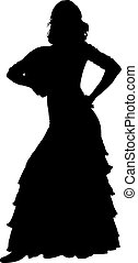 One black silhouette of female flamenco dancer
