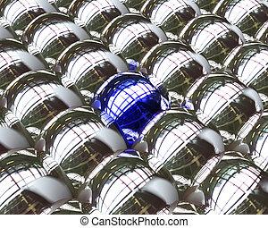 one blue ball among silver balls