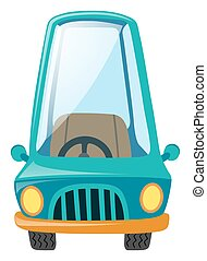 One blue car on white background