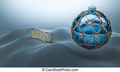 One blue christmas ball enclosed with gold ornaments hanging over snow ground. Year number 2021 made of gold standing on the snow in the background.  Happy new year 2021, merry christmas card.