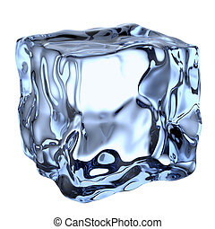One blue clear ice cube isolated on white background