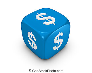 blue dice with dollar sign