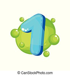 One blue glossy bright number, kids font vector Illustration on a white background