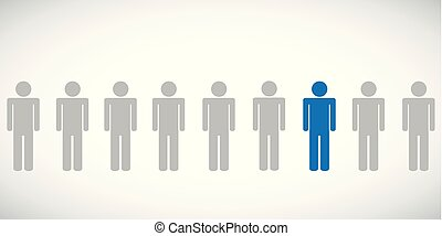 one blue individaul person between other pictogram