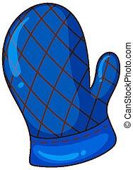 One blue mitten on white background