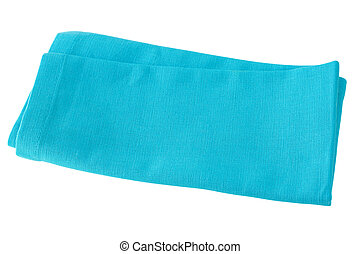 one blue napkin on white background