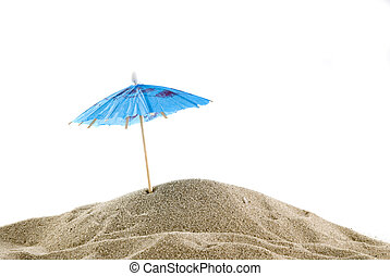 One blue parasol on the beach - one single blue parasol on...
