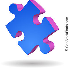 Puzzle Piece isolated - One blue Puzzle Piece isolated...