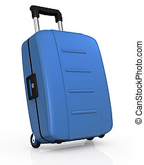 suitcase - one blue suitcase with wheels (3d render)