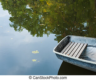 one boat on a summer water of pond