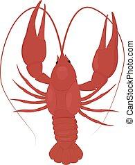 one boiled red crayfish, crawfish