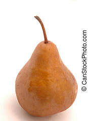one bosc pear vertical on white