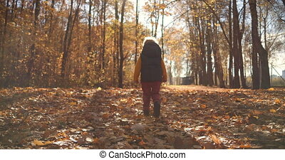 One boy walks in slow motion on the fallen yellow foliage of...