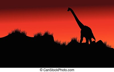 one brachiosaurus in fields at morning