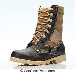 One brown military tall shoe