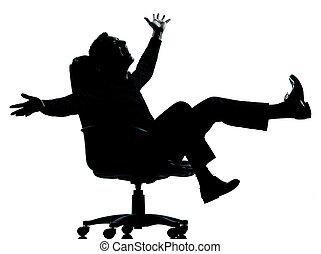 one business man happy joy silhouette