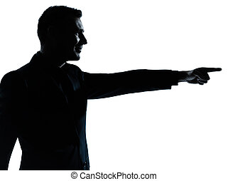 one business man poiting silhouette - one caucasian business...