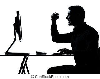 one business man silhouette computer computing happy - one...