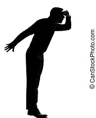one business man silhouette tiptoe looking away - one...