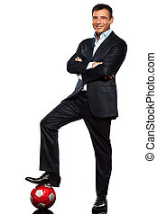 one business man standing foot on soccer ball