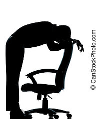 one business man tired sad despair silhouette