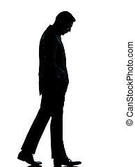 Sad business man looking down silhouette. One caucasian ...   149 x 179 jpeg 4kB