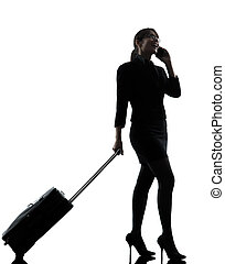 business woman traveling telephone silhouette