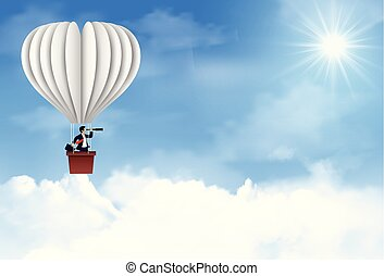 One businessman is in a white balloon. holding a binocular Floating in the sky between cloud. to be one of the highest achievers. new idea. different business success concept. leadership. startup