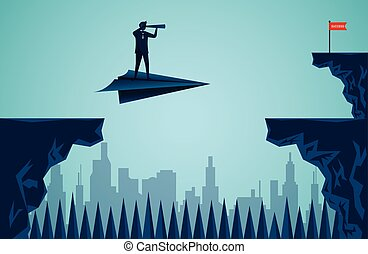 One Businessmen standing holding binoculars on a paper plane while flying above a city Across the cliff to the red flag target. go to target business success. startup. illustration cartoon vector