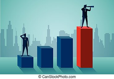 One Businessmen standing holding binoculars on red bar graph. business finance success. leadership. startup. illustration cartoon vector