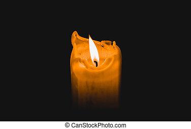 One candle burning brightly