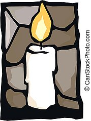 One candle - A simple graphic of a solitary white candle.