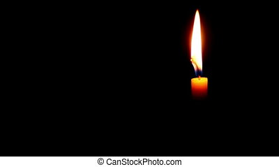 One Candle on a Dark Background