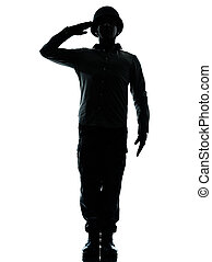 army soldier man saluting - one caucasian army soldier man...