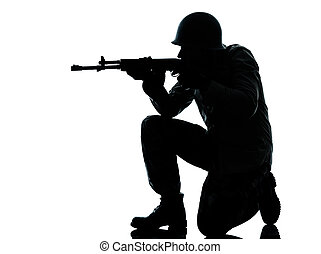 army soldier man shooting - one caucasian army soldier man...
