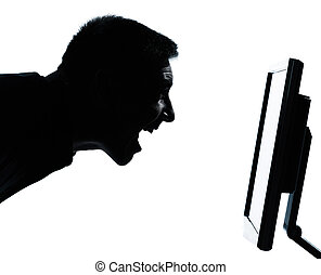 one caucasian business man face happy screaming silhouette with computer screen display portrait in studio isolated on white background