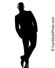 one caucasian business man silhouette standing Full length...