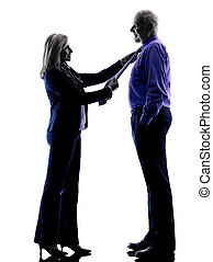 couple senior dressing up silhouette