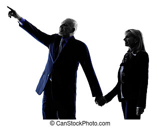 couple senior pointing silhouette