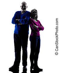 couple senior standing silhouette