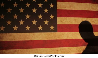 One caucasian man exercising thai boxing in silhouette studio  on the USA flag background