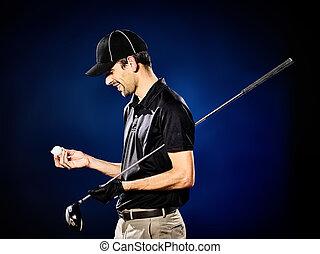 man golfer golfing isolated