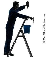 man house worker janitor cleaning window cleaner silhouette